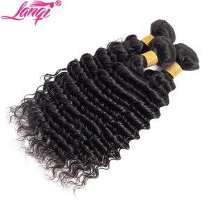 Image 4 - עמוק גל חבילות עם סגירה פרואני שיער חבילות עם סגירת lanqi ללא רמי ברזילאי שיער טבעי weave חבילות עם סגירה
