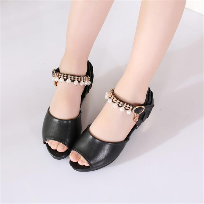 Fine High Quality Girls Sandals Summer New Pearl Girls High Heels Fish Mouth Girls Princess Sandals Wedding Party Dance Shoes