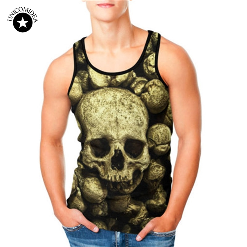 2018 New Skull Tank Top Men's Vest Funny Summer Mens Sleeveless Tee Tops Hip Hop Camiseta Fitness Tank Slim Vest Plus Size
