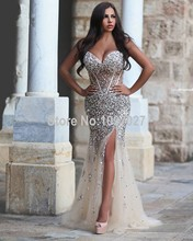 Sexy Said Mhamad Sweetheart Side Slit Prom Dresses Women Formal Crystal Beaded Evening Dress Party Gown MG4