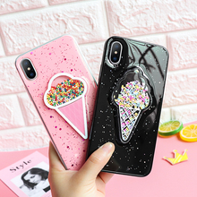 3D динамический розовый Мороженое Чехол для iPhone 6 6S Plus прекрасный жидкости чехол «Зыбучие пески» для iPhone XS Max 7 X XR 10 8 плюс Чехол для телефона