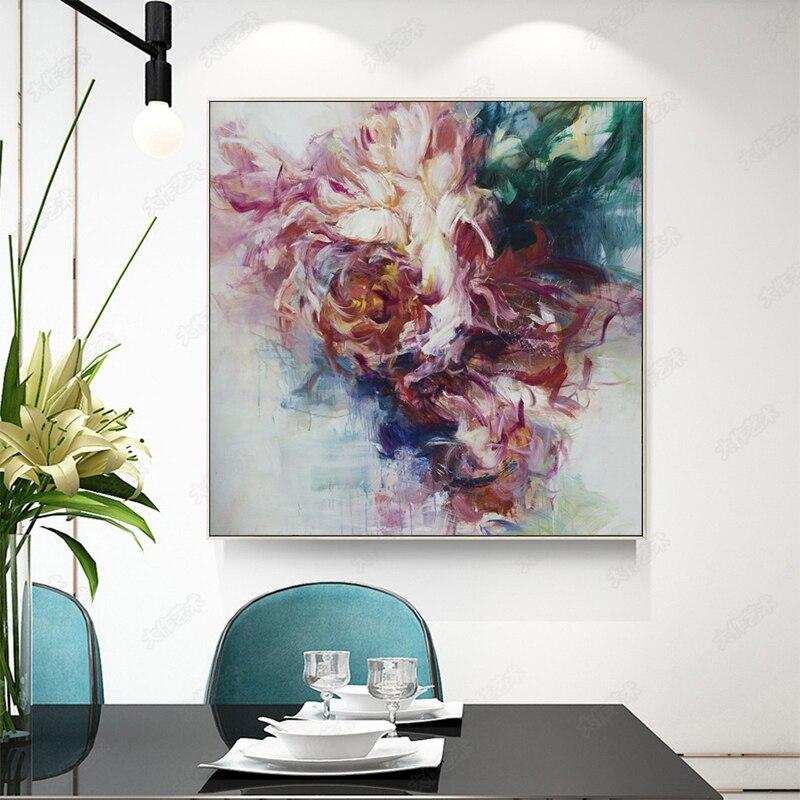 100% Hand Bemalt Abstrakten Große Blumen Ölgemälde Auf Leinwand Wand Kunst Wand Schmuck Bilder Malerei Für Live Room Home decor - 3