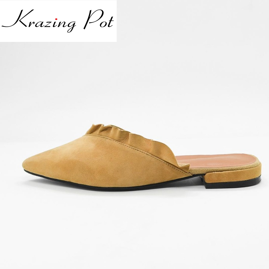 Krazing Pot empty after shallow shoes woman lace work flats pointed toe slip on sheep suede causal summer outside slippers L16 2017 summer new fashion sexy lace ladies flats shoes womens pointed toe shallow flats shoes black slip on casual loafers t033109
