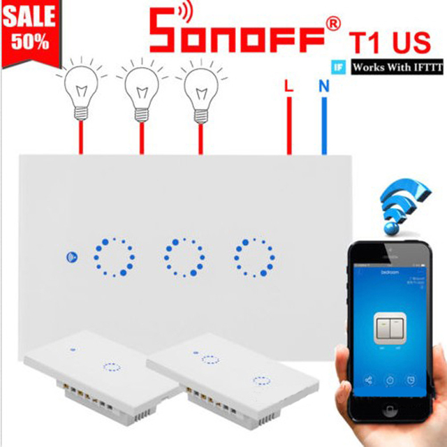 "Sonoff T1 האיחוד האירופי ארה""ב בריטניה חכם Wifi קיר אור מתג מגע/WiFi/RF/APP מרחוק בית חכם קיר מגע מתג עם Alexa Google בית"