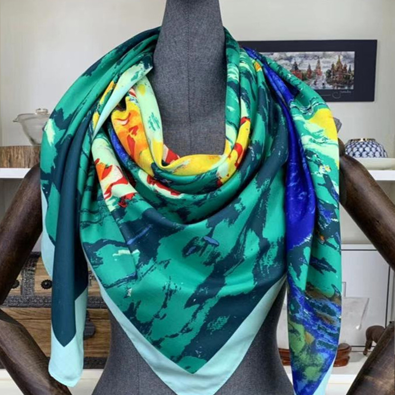 Van Gogh Oil Painting Real Silk   Scarf   Square 130*130cm Big Fashion Women   Scarf   Luxury Brand Designer   Scarves   Female   Wrap