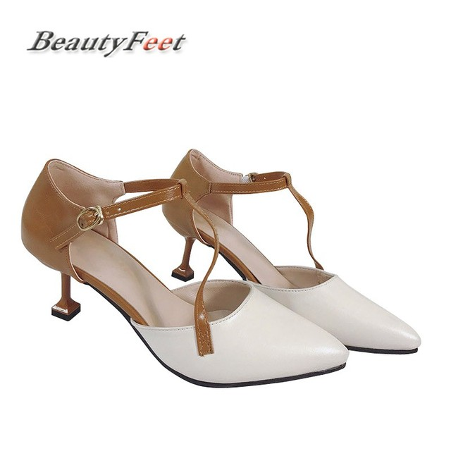 BeautyFeet 2017 Summer Pumps Women Shoes Woman Thin High Heels Pointed Toe  Buckle T Straps Ladies Shoes Zapatos Mujer Sapatos baaddd206651