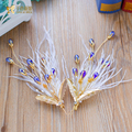 Trendy silk flower hairgrips feather hair clips pearl women hairpins girl party jewelry bride headpiece wedding accessories yuzh
