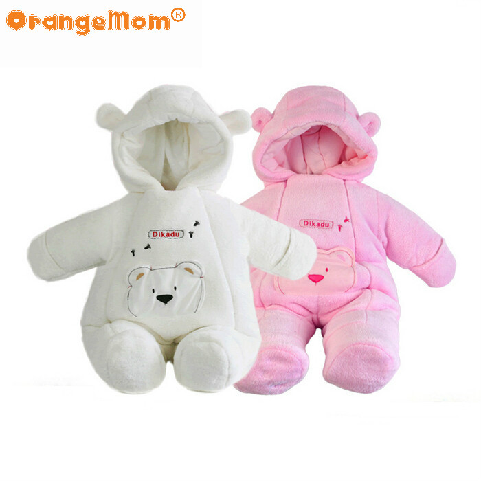 fashion winter Style rompers newborn warm jackets for baby girls clothing kids coral fleece coats jumpsuits boys outerwear