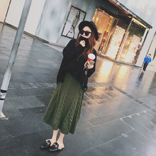Women Solid Color Elastic Waist Large Size Long Knit Sweater Skirts Spring Autumn Fashion Loose Female Mid-Calf Knit Skirt TT428