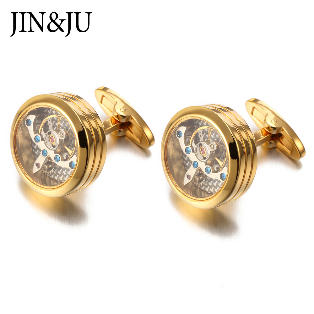 JIN&JU Hot Sale Movement Tourbillon Cufflinks For Mens High Quality Mechanical Watch Steampunk Gear Cuff Links Relojes Gemelos