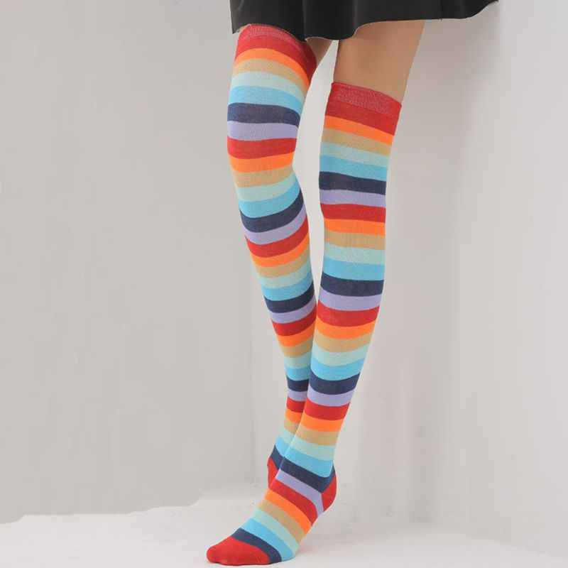 88ab913bc92c6 ... Women Girls Mixed Colored Rainbow Striped Long Boot Thigh High  Stockings Knitted Over The Knee Socks ...
