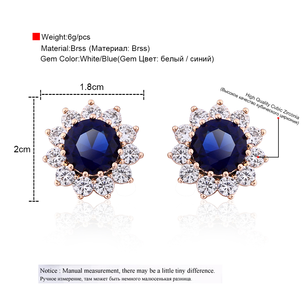 0b872022d OCESRIO Luxury Crystal Flower Stud Earrings 585 Gold Royal Blue Paved  Austrian Cubic Zirconia Gold Jewelry for Women ers j50-in Stud Earrings  from Jewelry ...