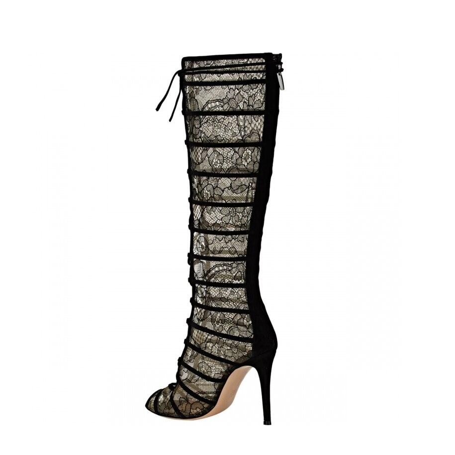 Rodilla Sandalias Alta Verano Tacones La Botas De Malla Black Toe Encaje Sexy 2018 El En Moda Peep Mujer Elegante 5IZTfqwaw