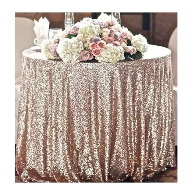 2018 New 120 Round 300cm Sparkly Champagne Gold Sequin Tablecloth For Table Decoration