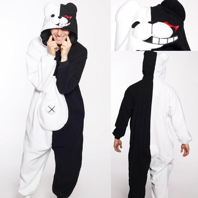 Весна аниме Danganronpa monokuma Косплэй пижамы для взрослых Мужская Onesie  Кумамон monokuma Мрачные медведь пижамы 5628ef9c8bcab