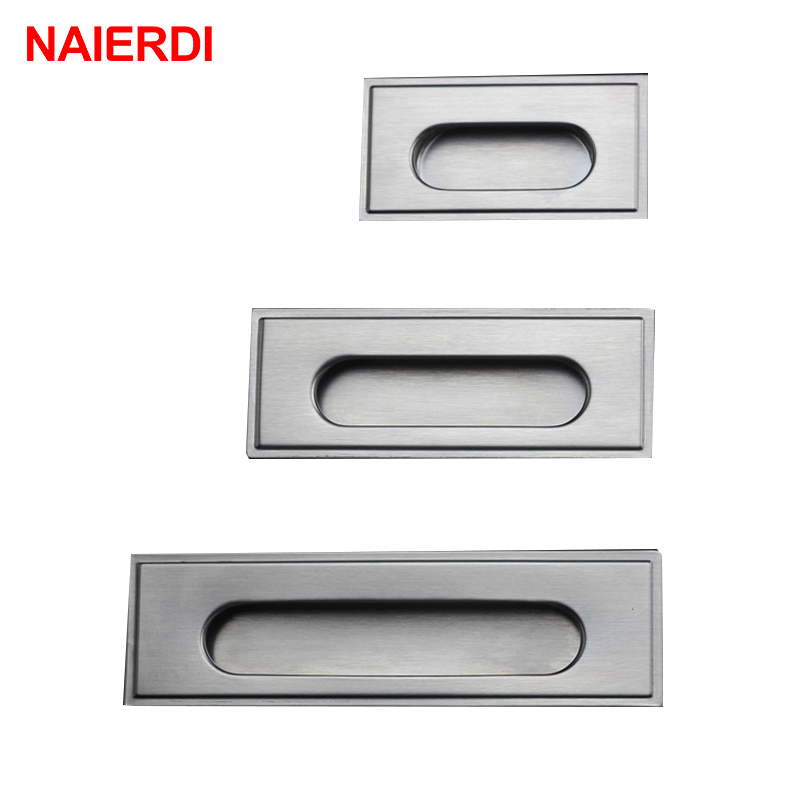 NAIERDI Cabinet Hidden Handles Stainless Steel Invisible Handle Circle Drawer Wardrobe Knobs With Screws For Furniture Hardware