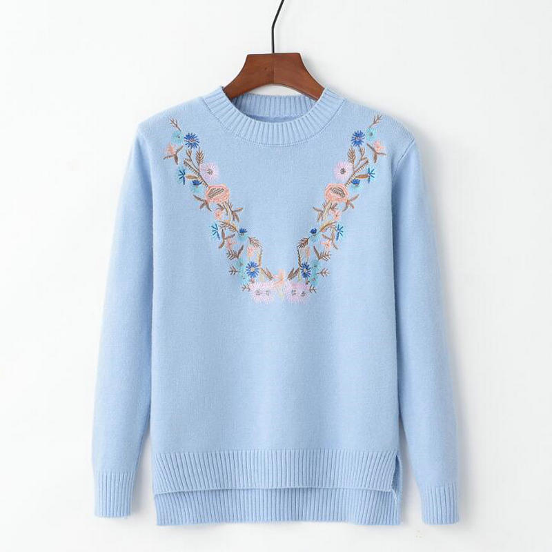 18 Pull Femme Women Floral Embroidery Sweater O-neck Long Sleeves Knit Jumper Jerseys 9 Colors Soft Pullover 8