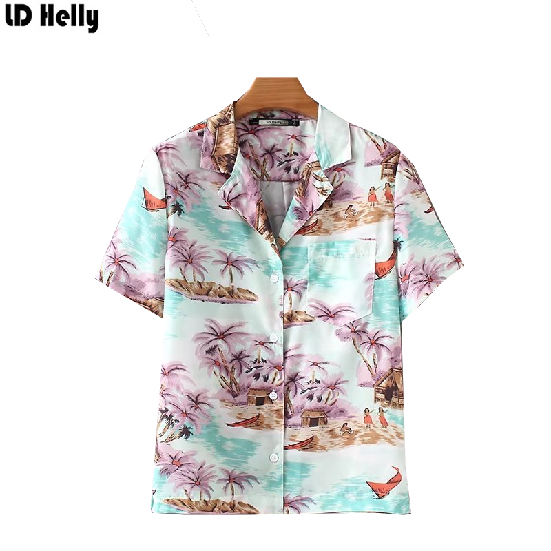 c41c34522b LD Helly Beach style Women Trees Screnery Print Blouse Pockets Notched Short  Sleeve Casual Ladies Shirt