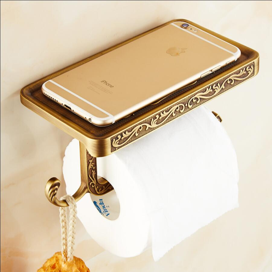 Chrome/Antique/Rose Gold/Gold Brass Carved Bathroom toilet Paper Holder Wall Mount Roll Tissue Rack paper Roll holder with shelf antique brass paper holder bathroom wall mounted toilet roll paper holder bar double bar toilet paper tissue rack