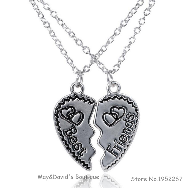 US $1 18 40% OFF|Classic Gift for Best Friends Fashion Couple Necklace  Heart Jigsaw Carving Words Vintage Short Pendant Necklaces Birthday Gift-in