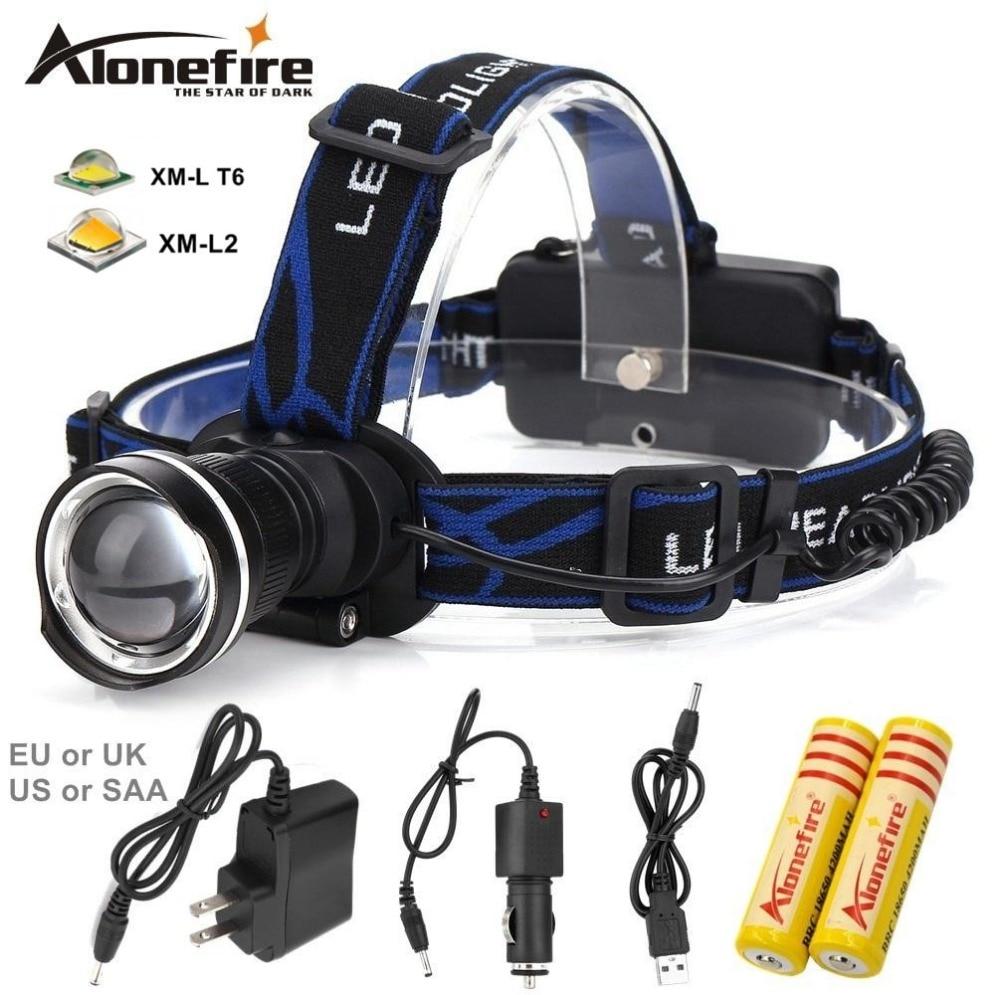 AloneFire HP87 Headlight Cree XM-L T6 L2 LED 5000LM Zoom Head lamp Travel Headl ight lantern Headlamp 18650 Rechargeable battery