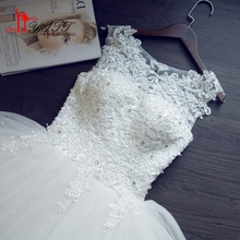Free shipping 2017 Sequins O-neck White Wedding Dresses Princess Vestidos De Novia Wedding Ball Gowns Cheap Party Dress ZY213