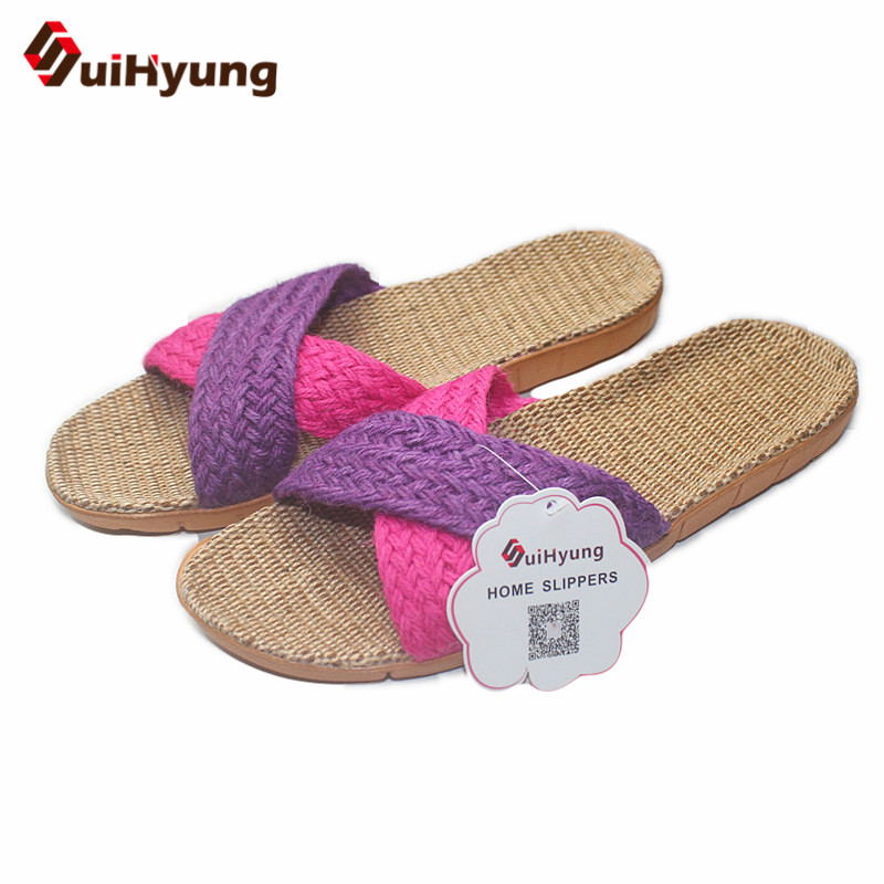 Suihyung New Fashion Linen Slippers Unisex Soft Bottom Non-slip Leisure Home Slippers Indoor Shoes Men Women Beach Flat Slippers