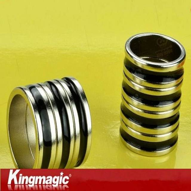 PK Ring Dual Black Line Black PK Ring Super Strong Magnetic Magic Toys Magic Tricks Magic Props