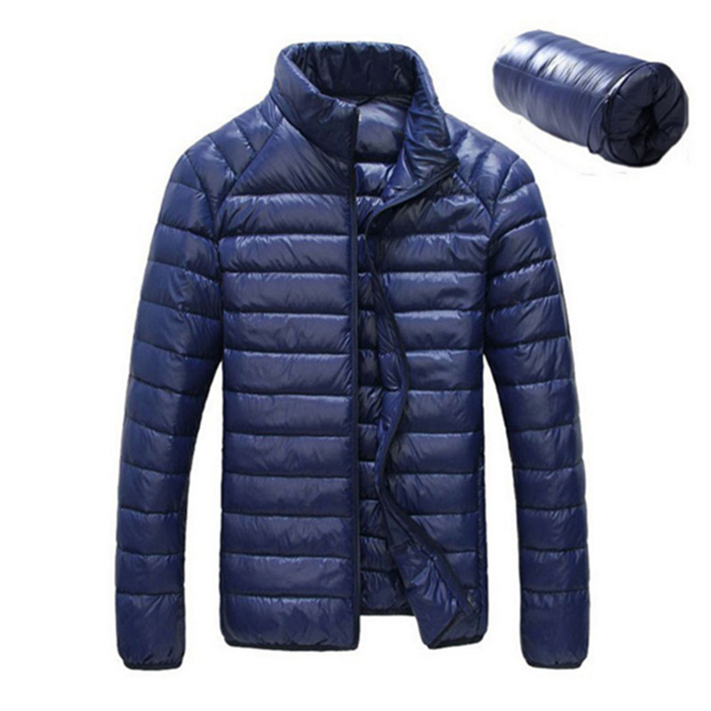Moška zimska dolška jakna 90% Down Content tanka ultra lahka jakna, zimska dolga rokava, trdni zimski plašči žepni modni