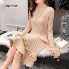 EORUTCIZ Winter Warm sweter sukienka kobiety Knitting tunika z golfem prosta sukienka Slim wiosna Sexy ciepła sukienka z długim rękawem LM155