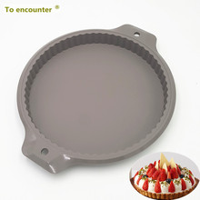 To encounter 34*28.5*2.8CM 235G Big Round Shape Cake Molds Pizza Pans Silicone Pastry Silicone Cake Mold Baking Tools