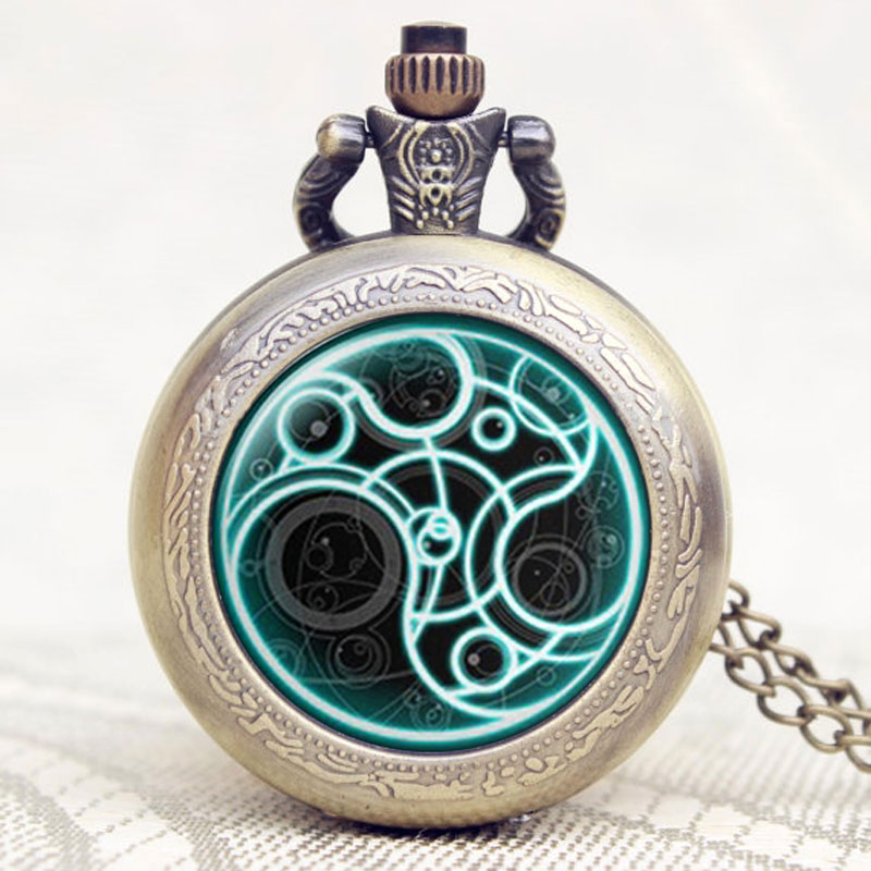 Old Antique Doctor Who High Quality Bronze Fob Watch Free Shipping Retro Penndat Pocket Watch bronze quartz pocket watch old antique superman design high quality with necklace chain for gift item free shipping