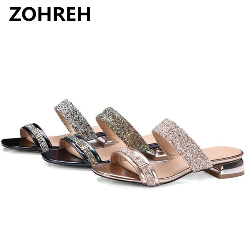 Women Sandals Summer 2018 Women Slides Glitter Low Heel Slippers Causal Beach Shoes Ladies Sandals Gold Large Size 9 10