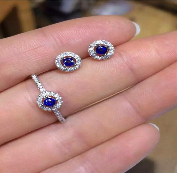 Frete Grátis conjunto de jóias de safira Naturais 2 pcs Brinco, 1 pc anel Natural sapphire 925 sterling silver - 3