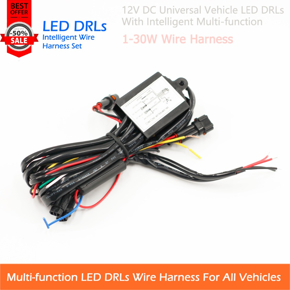 Free Shipping 12v Vehicle LED DRLs Universal Use Wire Harness With  Multi-function Plug & Play Error Free Control Units
