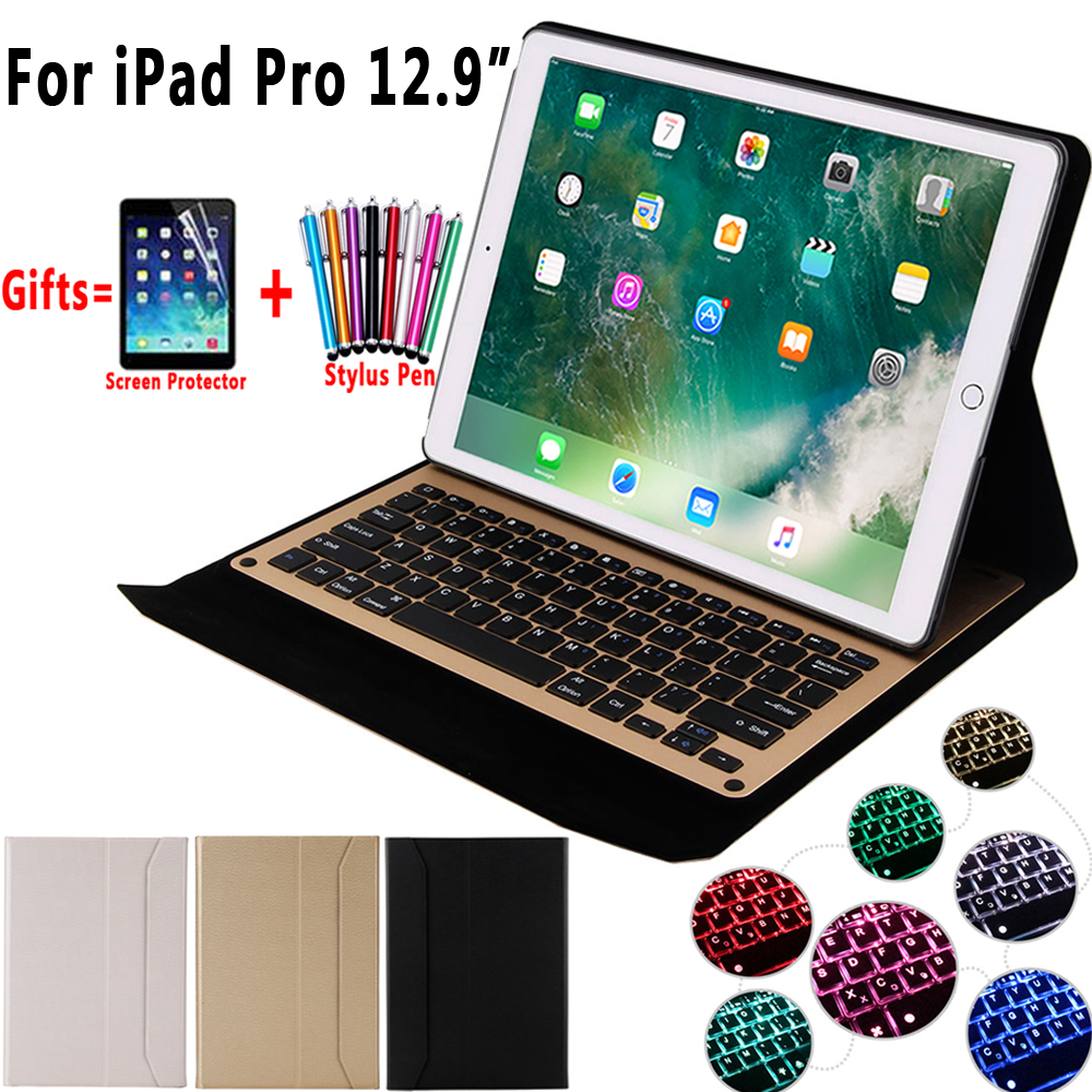 7 Colors Backlit Aluminum Alloy Wireless Removeable Bluetooth Keyboard Case Cover for Apple iPad Pro 12.9 inch 2017 2015 aluminum keyboard cover case with 7 colors backlight backlit wireless bluetooth keyboard