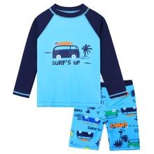 BAOHULU/детская одежда для купания с длинными рукавами; детский купальный костюм из двух предметов; UPF50+ одежда для купания для малышей; пляжная одежда для мальчиков