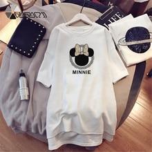 2019 Minnie Mickey Mouse Summer Women Dresses Cartoon Print Loose Clothing Harajuku Mini Dress Clothes For Women Plus Size M-4XL цены