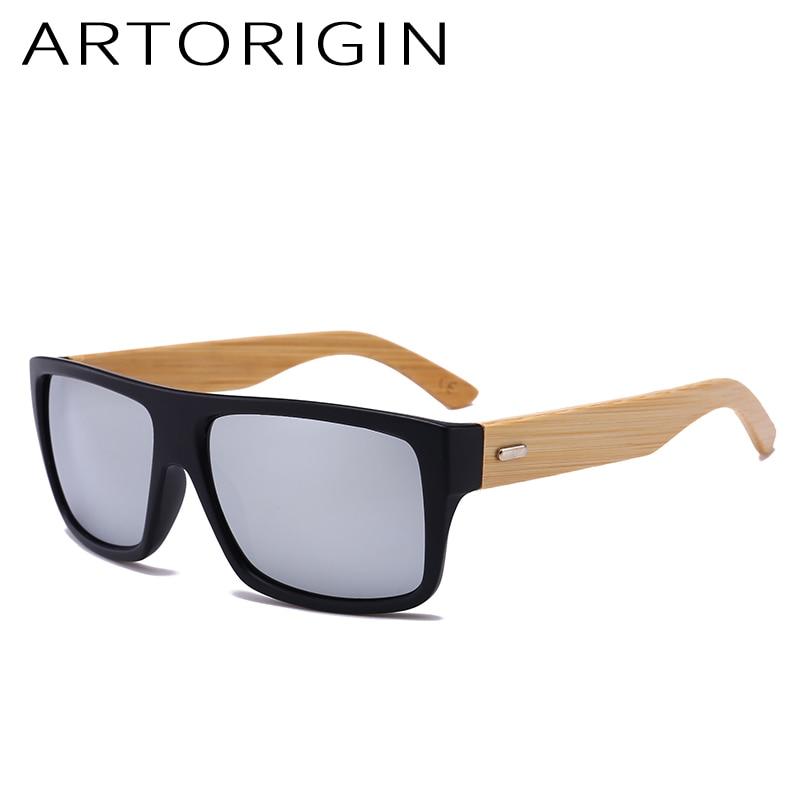 ARTORIGIN Brand Wood Sunglasses Men Square Mirror Wooden Sun Glasses For Men Bamboo Eyewear UV400 Classic Retro Oculos Gafas