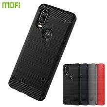 MOFi For Motorola MOTO P40 Case Luxury Carbon Fiber Anti-drop TPU Soft Cover Cases Back