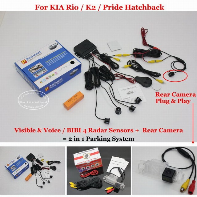 For KIA Rio / K2 / Pride Hatchback - Car Parking Sensors + Rear View Camera = 2 in 1 Visual / BIBI Alarm Parking System