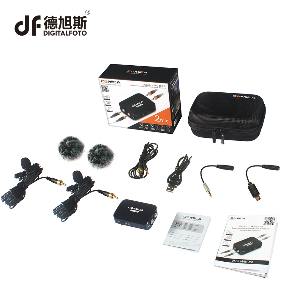 DIGITALFOTO COMICA CVM-D03 Dual head Lavalier removeable Smartphone dslr camera Microphone Mic recorder for Interview meeting