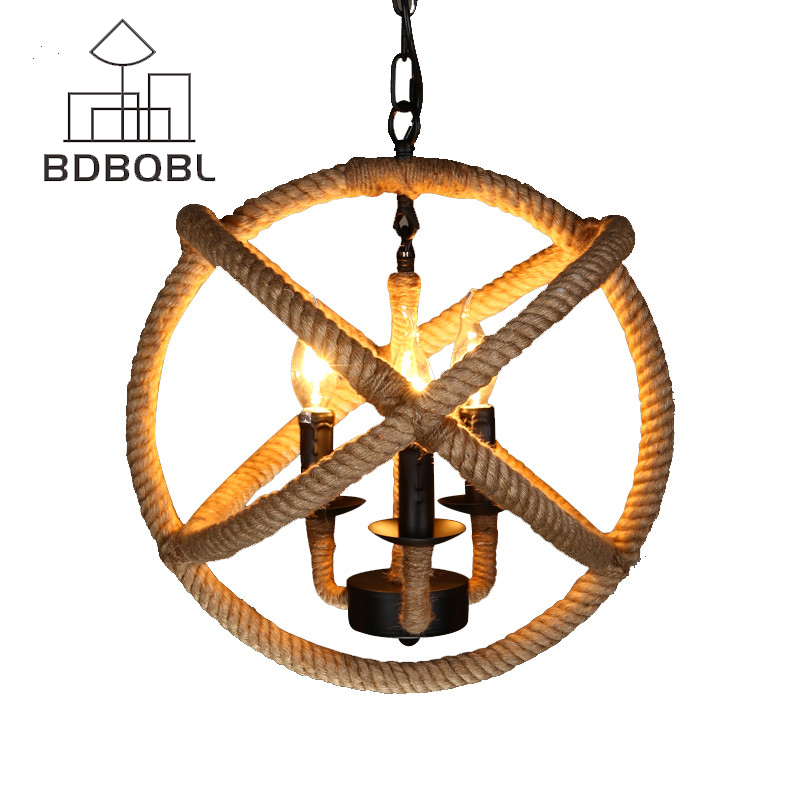 BDBQBL Iron Hemp Rope Pendant Lights Round E14 Restaurant Cafe Bar Retro Pendant Lamp Stairs Lighting 3 Lamps Free Shipping loft style vintage pendant lamp iron industrial retro pendant lamps restaurant bar counter hanging chandeliers cafe room