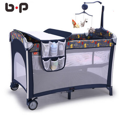 Multifunctional folding cot bed baby bed bb portable for Baby bed with wheels