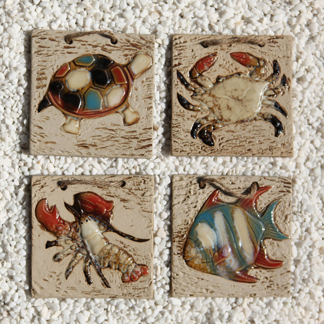 . US  96 0  Mediterranean decorative ceramic wall tile piece of marine fish  paintings crab waist in Inserts   Cushions from Shoes on Aliexpress com