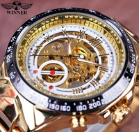 Winner Numberal Bezel Design Full White Golden Mens Watches Top Brand Luxury Mechanical Skeleton Watch Erkek