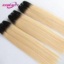 AddBeauty 1b/613 блонд Омбре бразильские прямые волосы пучки 3 шт человеческие волосы плетение 10-26 дюймов девственные волосы