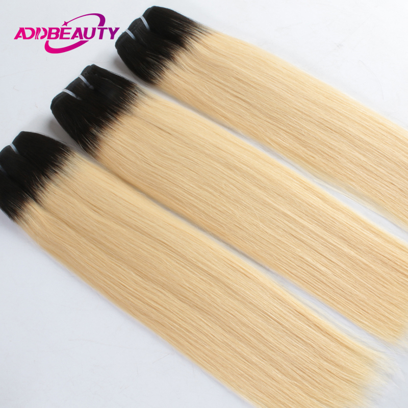 AddBeauty 1b/613 Blonde Ombre Brazilian Straight Hair Bundles 3 Piece Human Hair Weave 10-26 Inches Virgin Hair
