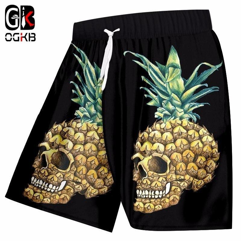 Shorts da Praia dos Homens Roupa de Banhos Calças de Cintura Elástica com Cordão Engraçado Impressão Abacaxi Ogkb Crânio 3d Bermudashort Homem Hiphop 5xl