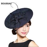 Elegant Ladies Black Fedoras Hats kenducky Derby Hats Fascinator For Women Summer Church Wedding Party Chapeau headpiece KNHFH09